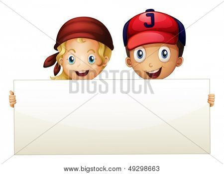 Illustration of the two kids at the back of an empty signboard on a white background