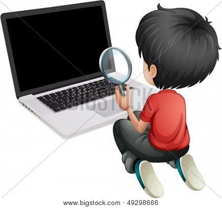 Ilustración de un niño delante de un ordenador portátil con una lupa sobre un fondo blanco