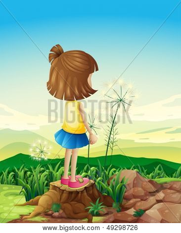 Illustration of a child standing above the stump while sightseeing
