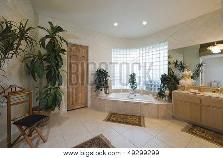 View of a spacious bathroom with glass brick window at home