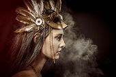 Fairy Queen, young with golden mask, ancient goddess