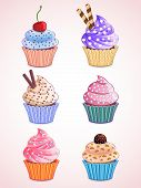 stock photo of fancy cake  - set of vector cute cupcakes placed on gradient background - JPG