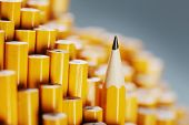 image of blunt  - One sharpened pencil standing out from the blunt ones - JPG