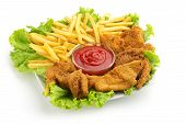 fried chicken, fries, lettuce and ketchup