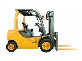 stock photo of lift truck  - Modern forklift truck isolated on white background - JPG