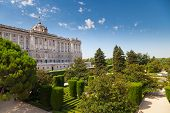 image of royal palace  - Facade of Madrid Royal Palace and Sabatini Gardens Madrid Spain - JPG