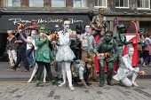 EDINBURGH- AUGUST 10: Members of Babolin Theatre publicize their show Sentinels during Edinburgh Fri