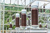 stock photo of substation  - Lightning conductor at the electric power station - JPG