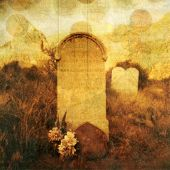 stock photo of bereavement  - Old western tombstone with textures and rising  - JPG