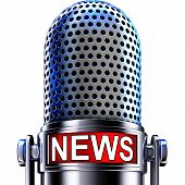 foto of microphone  - high resolution rendering of a microphone with a news icon - JPG
