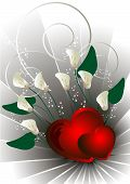 image of calla  - Red hearts with white flowers calla a light silver background - JPG