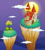 picture of landforms  - Illustration of a castle at the topmost part of a landform - JPG