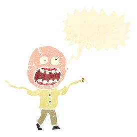 stock photo of madman  - retro cartoon crazy madman - JPG