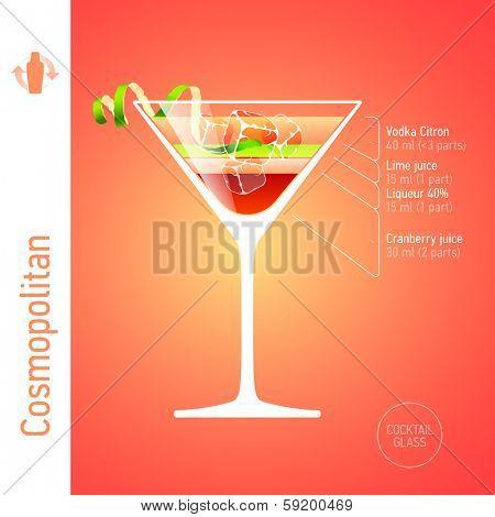 Cosmopolitan. Cocktails infographics, vector.