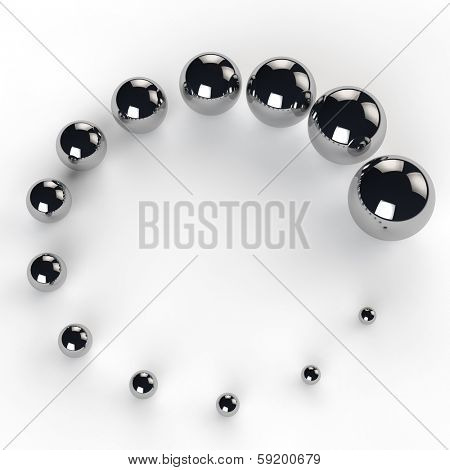 Many growing metal balls as concept for growth