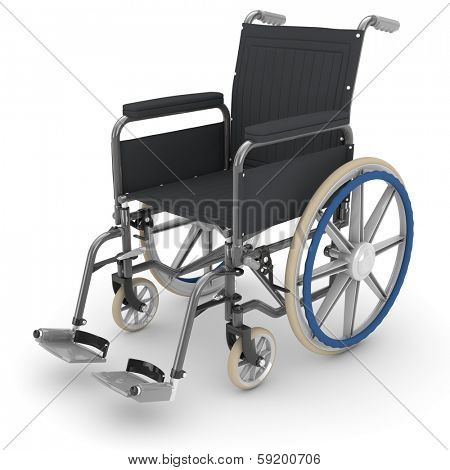 Empty wheelchair standing isolated on a white background