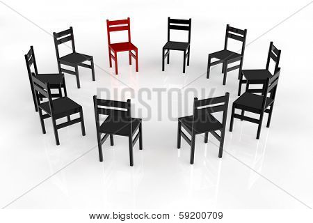 Circletime with chairs in a circle for a psychotherapy