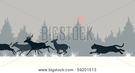 Editable vector illustration of a Siberian tiger chasing deer through snow