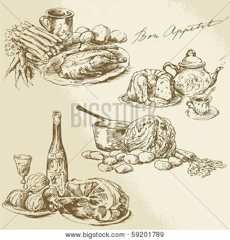 still life, hand drawn food