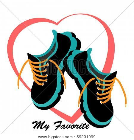 Runners sneakers tennis shoes  heart behind - love heart healthy concept