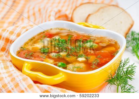 Minestrone With Tomatoes And Pepper.