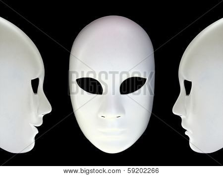 White masks on black background