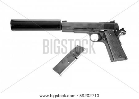 A photo of a Genuine .45 ACP 1911 semi-automatic pistol with a silencer attached, the weapon of choice of a hit man, isolated on white with room for your text.