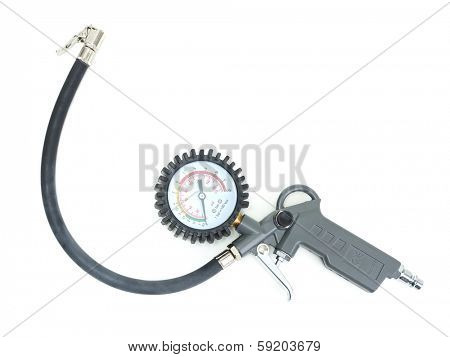 Tire inflator with gauge shot on white