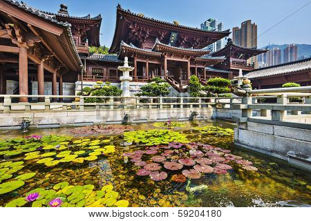 Chi Lin Nunnery, a Buddhist Monastery in Hong Kong, China.