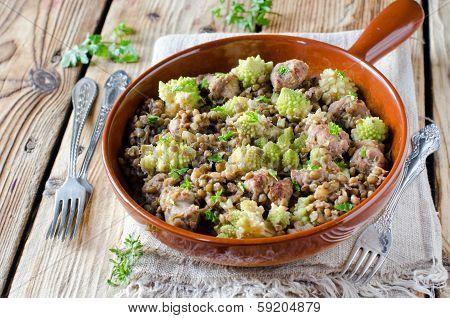 Green Lentils With Homemade Sausage And Cabbage Romanesco