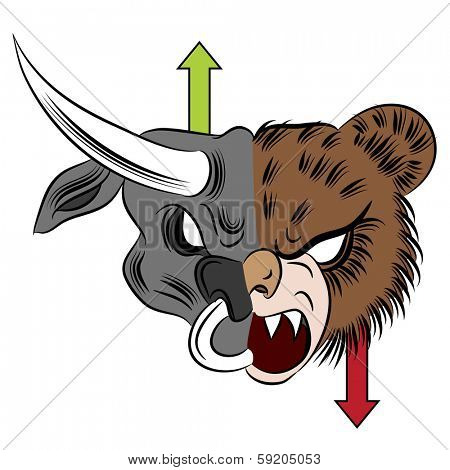 An image of a bull versus bear drawing.