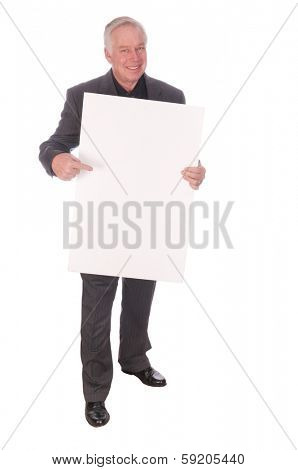 businessman holding billboard advertising will work for whatever, or selling a product billboard