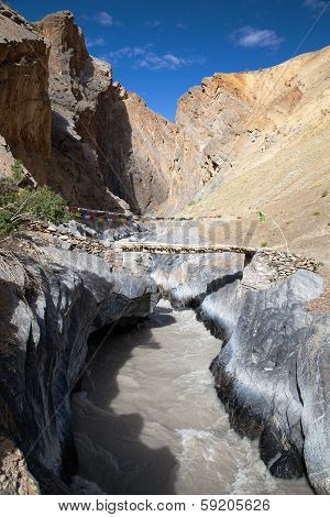 Canyon With Bridge - View From Zanskar Trek - Ladakh - Jamu And Kashmir - India