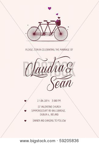 Tandem Bike Wedding Invitation template