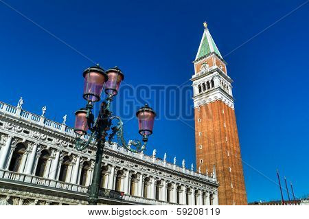 the campanile in st. mark's square in venice, italy. landmark of the city