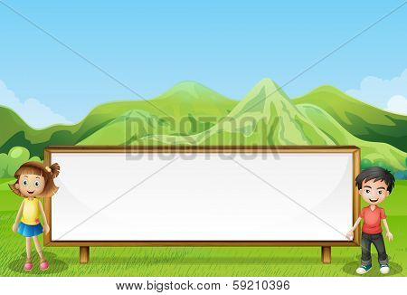 Illustration of a big empty signage near the mountain