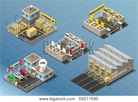 Isometric Set Of Storage Buildings