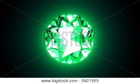 Glowing Emerald - Diamond Cut - 3D Illustration