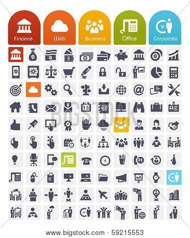 Business Related Icons Set - transparent quality icons : web, finance, office and people