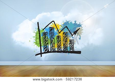 Bar chart on paint splashes against clouds in a room