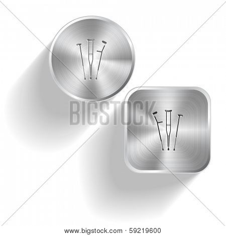 Crutches. Vector set steel buttons