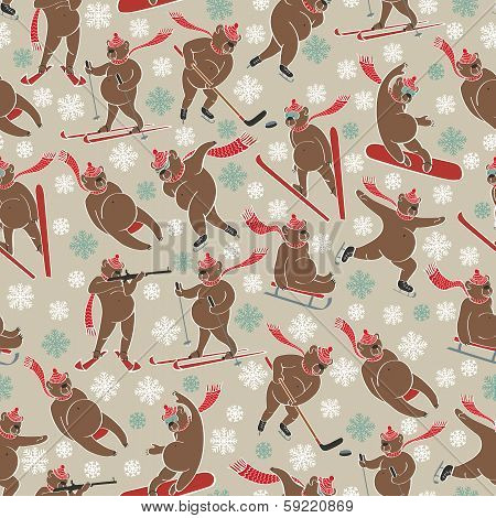 Brown Bear In Winter Sport.seamless Pattern Or Background.humorous