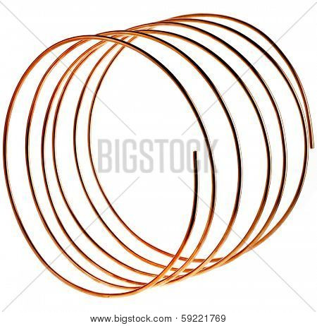 copper pipes wire isolated on white background