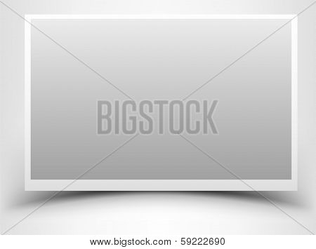 Empty gray photo frame with shadow