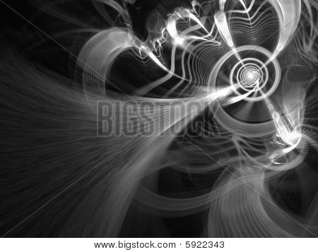 B&W Spiral Network - fractal illustration