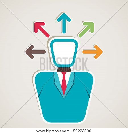 businessmen think multi-direction arrow
