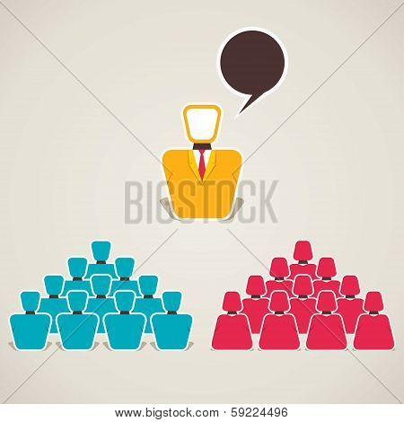 discussion between team and leader stock vector