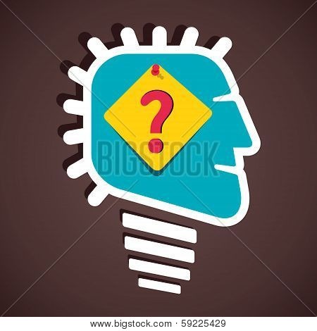 question mark on paper notes in human head stock vector