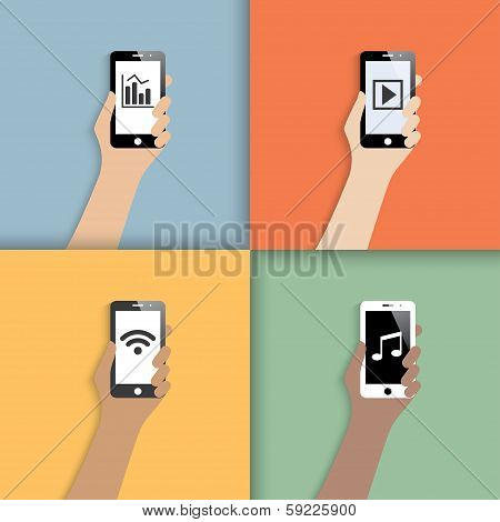 smartphones in hands