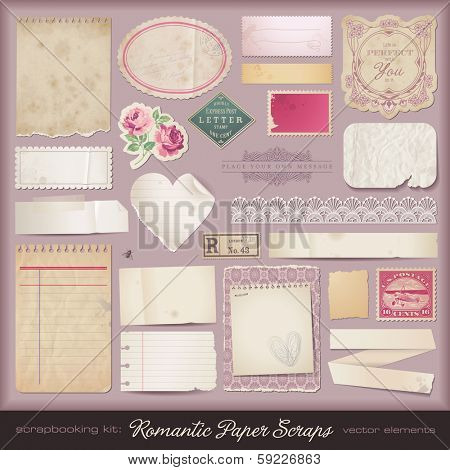 collection of romantic paper scraps and design elements
